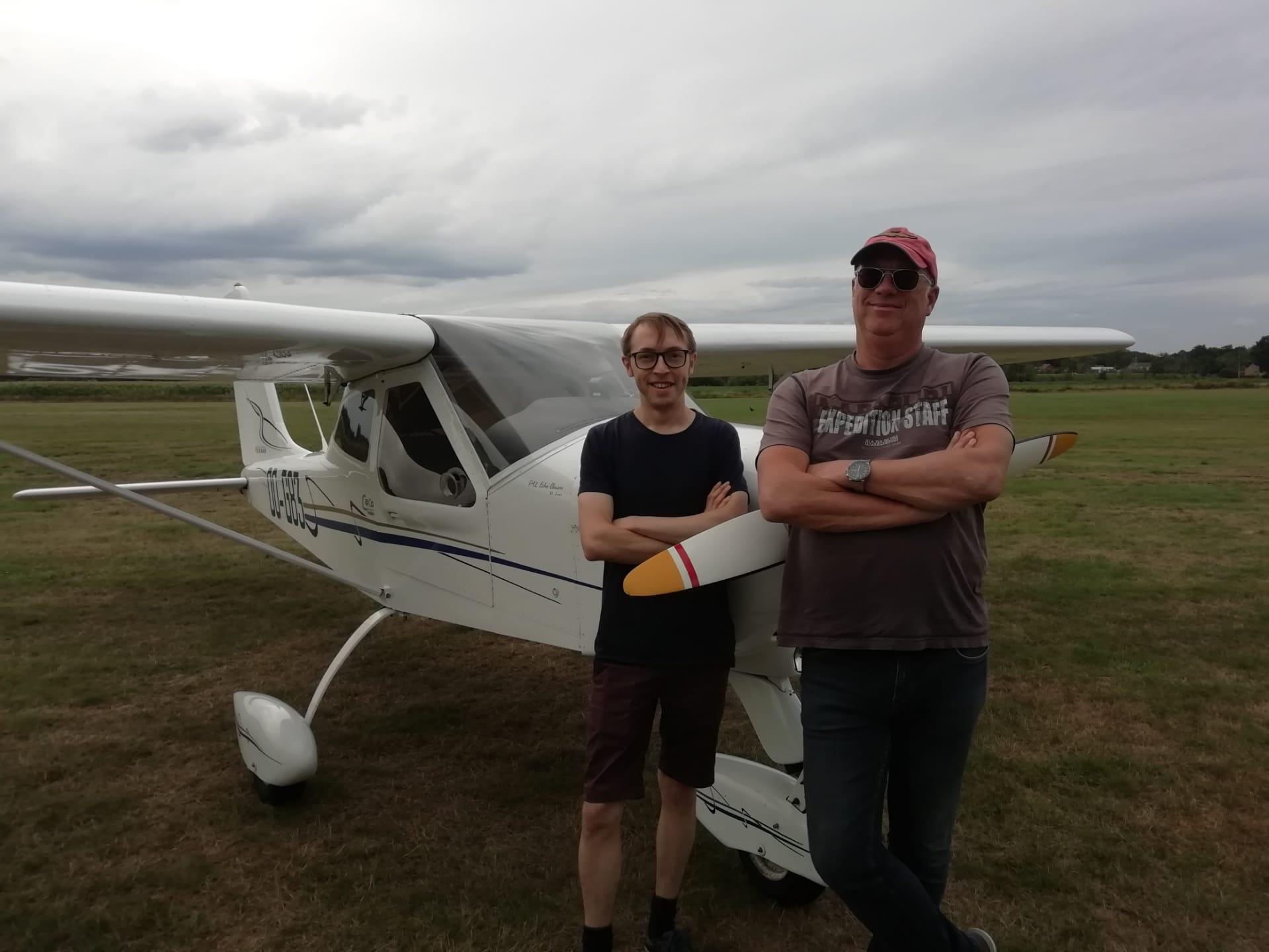 Eric and myself in front of OO-G83, after my first solo-flight, August 14, 2019 at EBZH